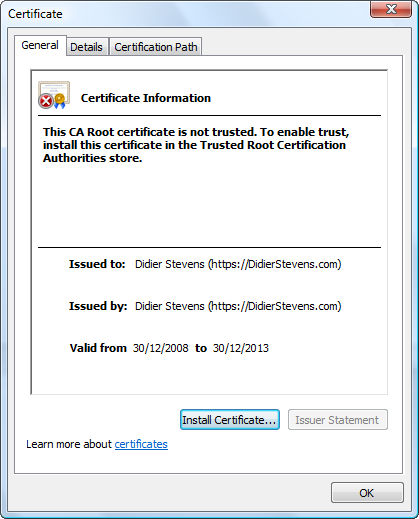 Howto: Make Your Own Cert With OpenSSL | Didier Stevens