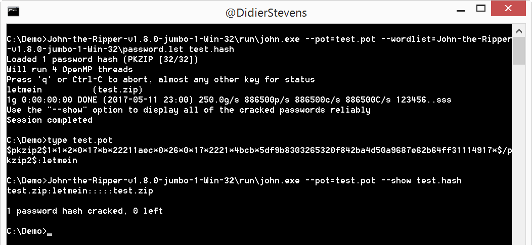 Quickpost: ZIP Password Cracking With John The Ripper | Didier Stevens