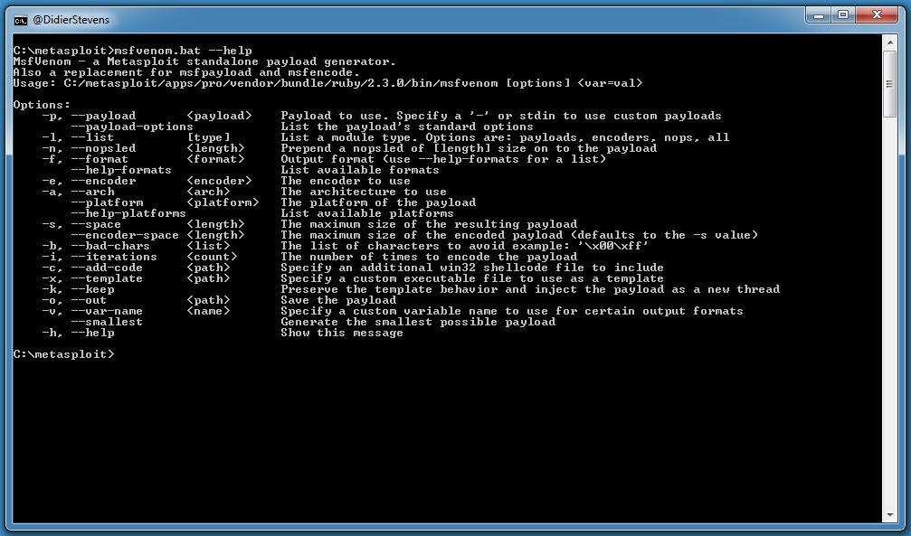 Using Metasploit On Windows | Didier Stevens