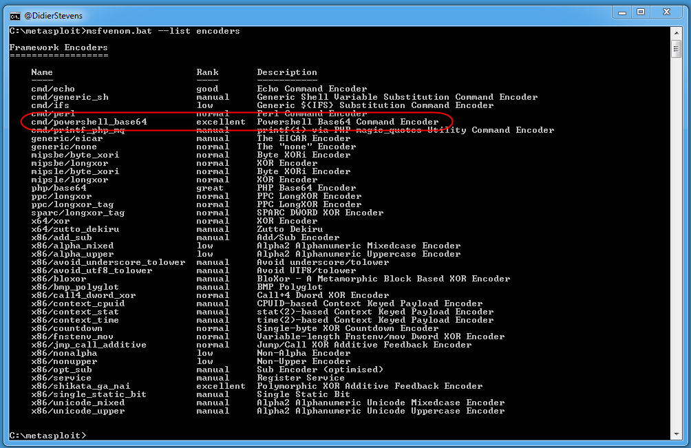 Quickpost: Metasploit PowerShell BASE64 Commands - Malware