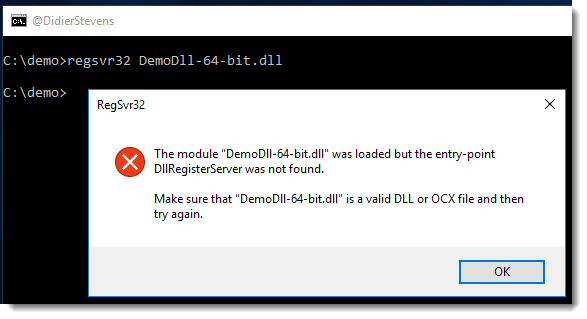 the module was loaded but the entry-point dllregisterserver was not found