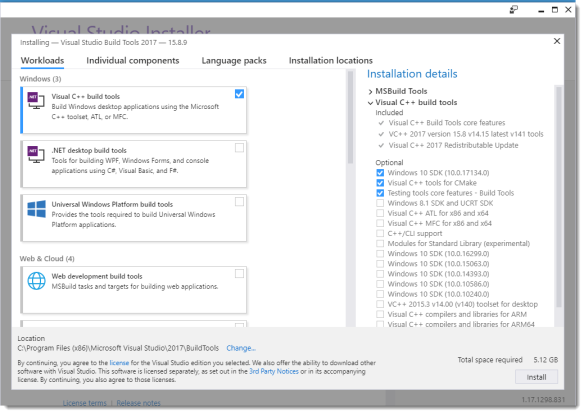 Quickpost: Compiling with Build Tools for Visual Studio 2017
