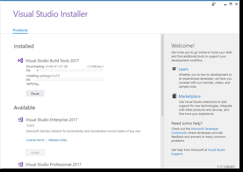 npm install build tools for visual studio 2010
